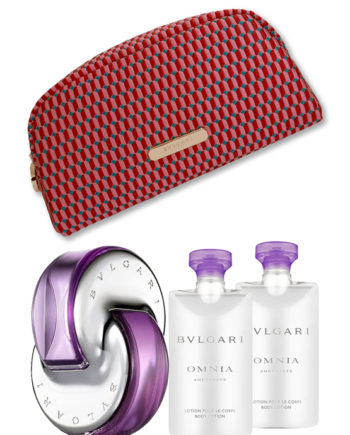 Omnia Amethyste Gift Set for Women (edT 65 ml + Body Lotion 75ml + Body Lotion 75ml + Beauty Pouch) by Bvlgari