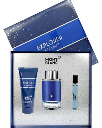 Explorer Ultra Blue pour Homme Gift Set for Men (edP 100ml + edP 7.5ml + Shower Gel 100ml) by Mont Blanc
