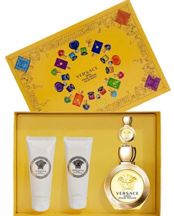 Eros Gift Set for Women (edP 100ml + Travel Spray edP 5ml + Luxury Body Lotion 100ml + Luxury Bath and Shower Gel 100ml) by Versace