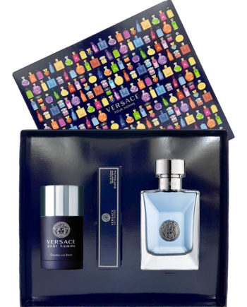 Versace pour Homme Gift Set for Men (edT 100ml + Travel Spray Edt 10ml + Deodorant Stick 75ml) by Versace