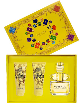 Yellow Diamond Gift Set for Women (edT 90ml + edT 5ml + Perfumed Body Lotion 100ml + Perfumed Shower Gel 100ml) by Versace