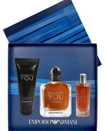 Stronger with You Intensely Gift Set for Men (edP 100ml + edP 15ml + All Over Body Shampoo 75ml) by Emporio Armani