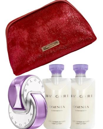 Omnia Amethyste Gift Set for Women (edT 65ml + Body Lotion 2 x 75ml + Beauty Pouch) by Bvlgari